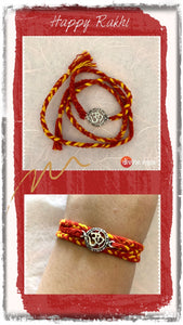 Silver Rakhi New Om Red
