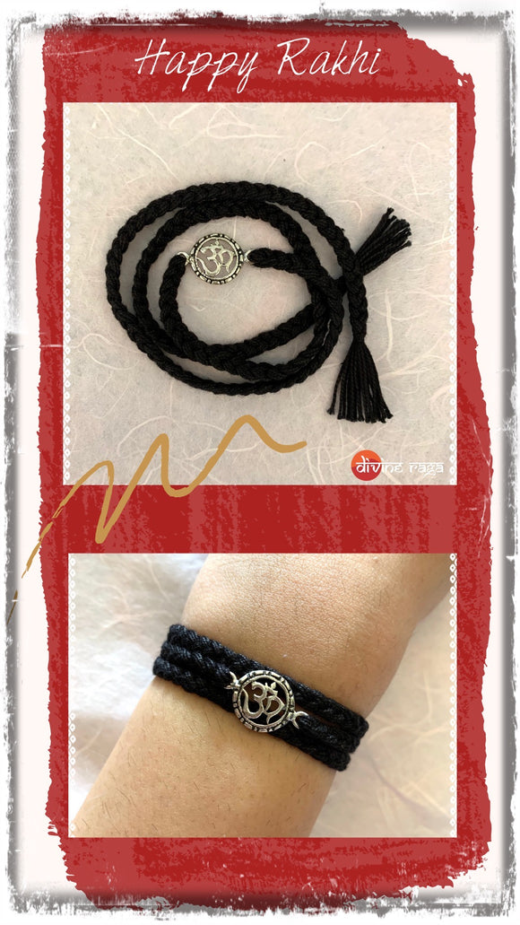 Silver Rakhi New Om Black