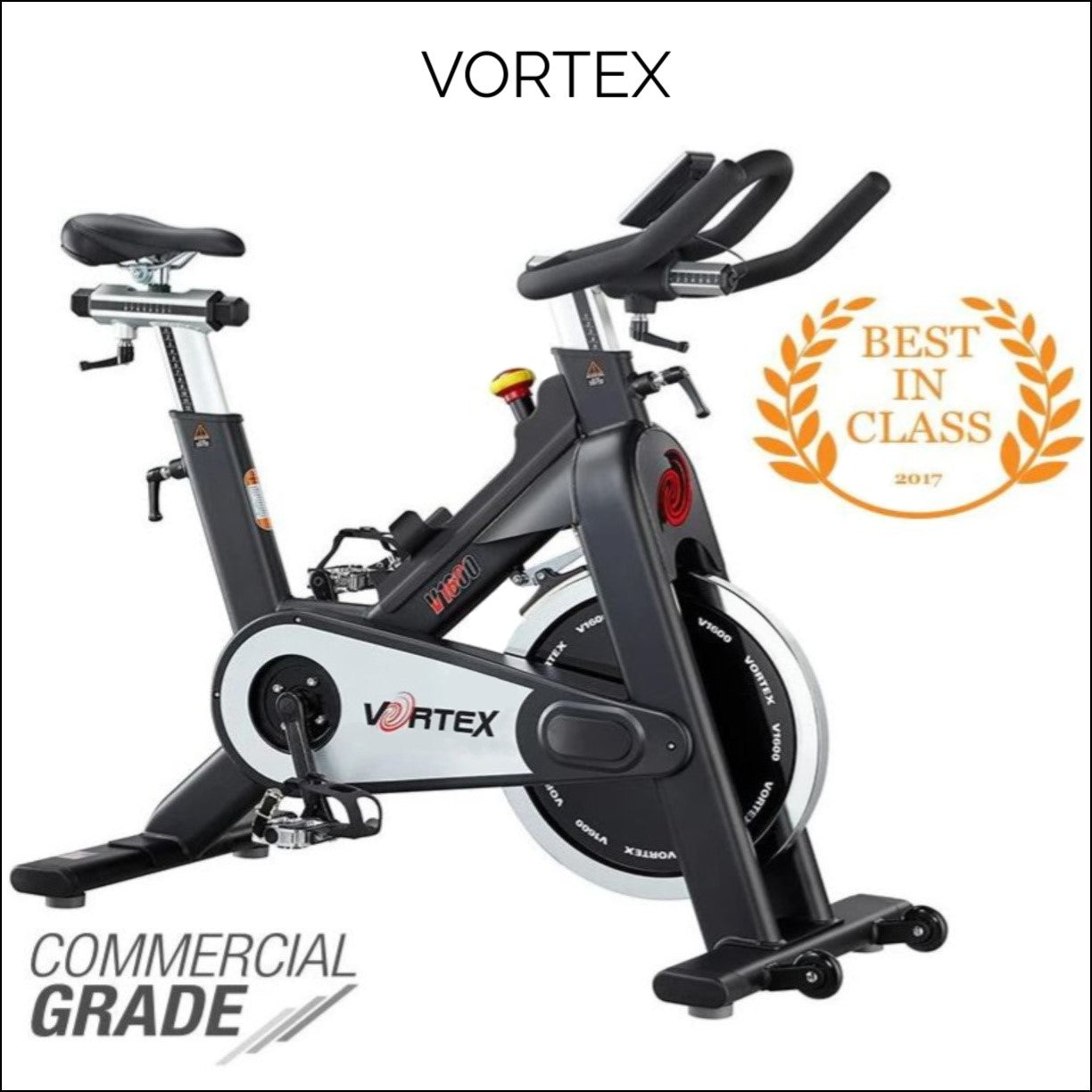 The Vortex V1600 Spin Bike allows you to simulate the motion of biking in an aerobics exercise. The flywheel feature allows you to scale up the difficulty of the exercise as you pedal harder.