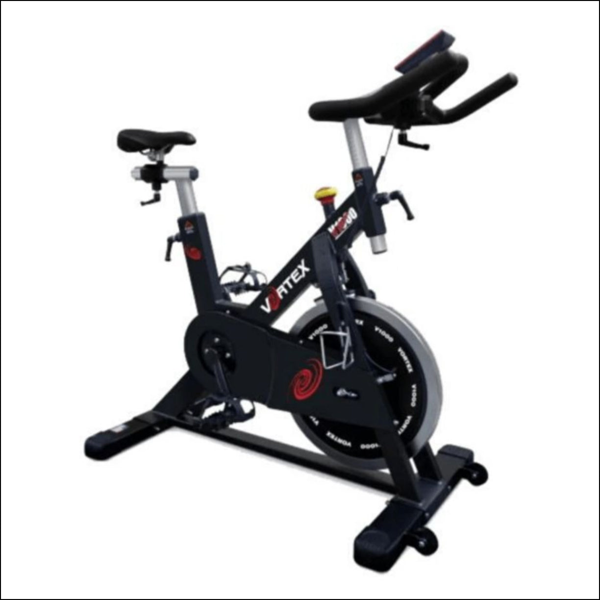 The VORTEX V1000 Spin Bike Light, sturdy and well-engineered, the Vortex V1000 is a commercial spin bike built for frequent usage and high-intensity. This spin bike has a strong solid frame with an ultra-smooth belt drive and maximum user weight of 140kg