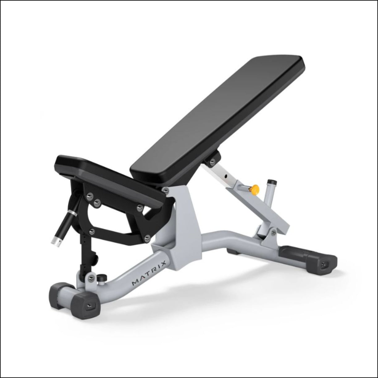 MATRIX MG-A85 MULTI ADJUSTABLE BENCH Seat automatically adjusts with the back pad for ease of use Adjustable back pad with 5 positions from 0 to 80 degrees Wide back pad stabilises users during heavy lifts