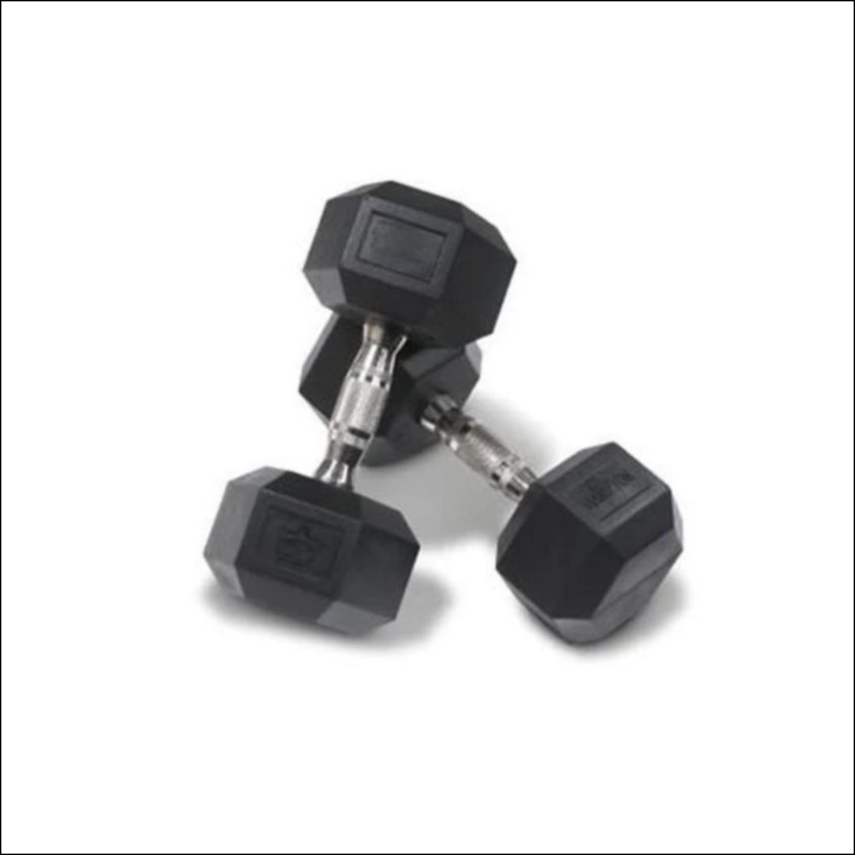 PAIR OF 27.5-kg RUBBER HEX DUMBBELLS  Muscle Motion Rubber coated hexagonal dumbbells with ergonomic handles are designed for increased comfort and improved durability. Rubber coating reduces noise improves life cycle of the product  (other finishes such as chrome and cast iron are subject to chipping and rust). Rubber coated dumbbells are also kinder on floor surfaces. The hexagonal shaped ends are designed to prevent the dumbbell from rolling on the floor or dumbbell rack.