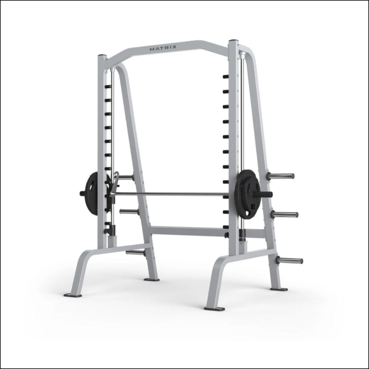 Home gym machines Australia MATRIX G1 SMITH MACHINE Low starting resistance accommodates users of all abilities Bar travel limited to 28.5 (65cm) from the floor to improve safety Six integrated weight storage horns