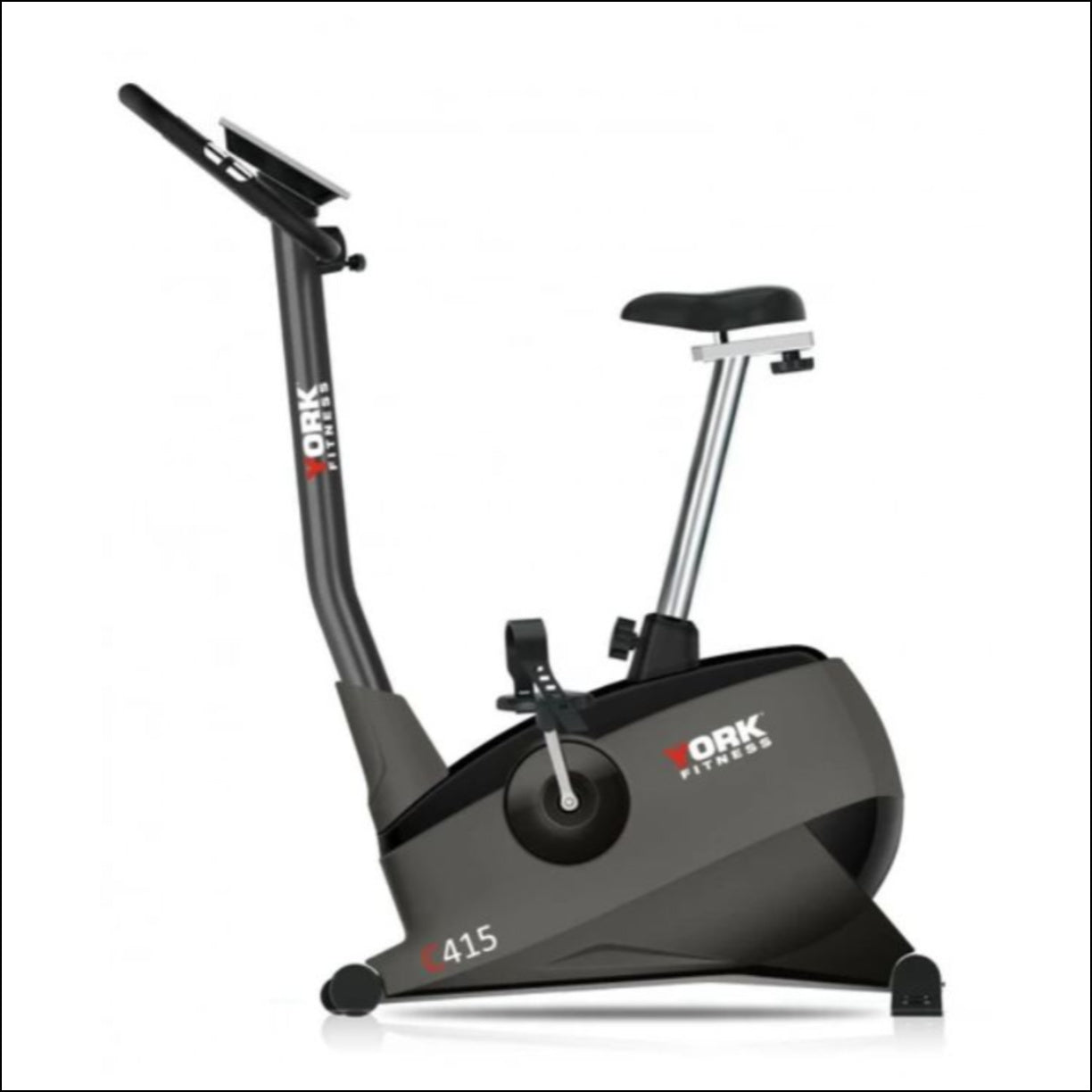 Spin Bikes Australia Directory listing The York C415 upright bike offers great value and is packed with many features. With it's large cushioned seat, rack and slide seat adjustment, stabilizers for uneven surfaces and wheel for easy transportation the C415 is perfect for home use.