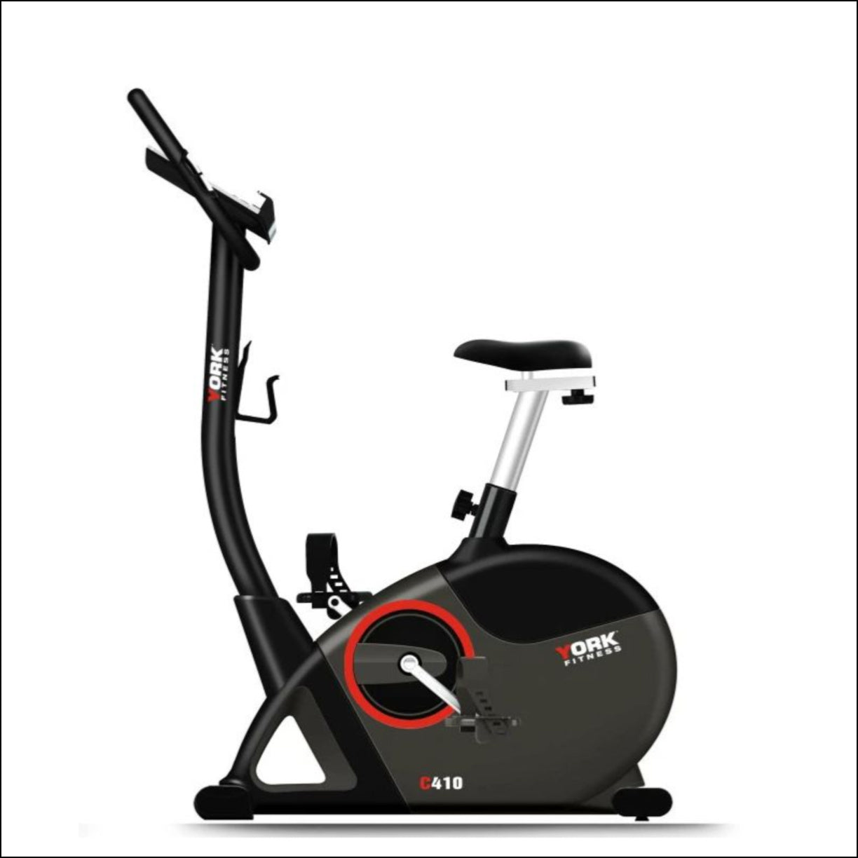 York C410 upright bike offers great value and is packed with many features. With it's large cushioned seat, rack and slide seat adjustment, stabilizers for uneven surfaces and wheel for easy transportation the C410 is perfect for home use