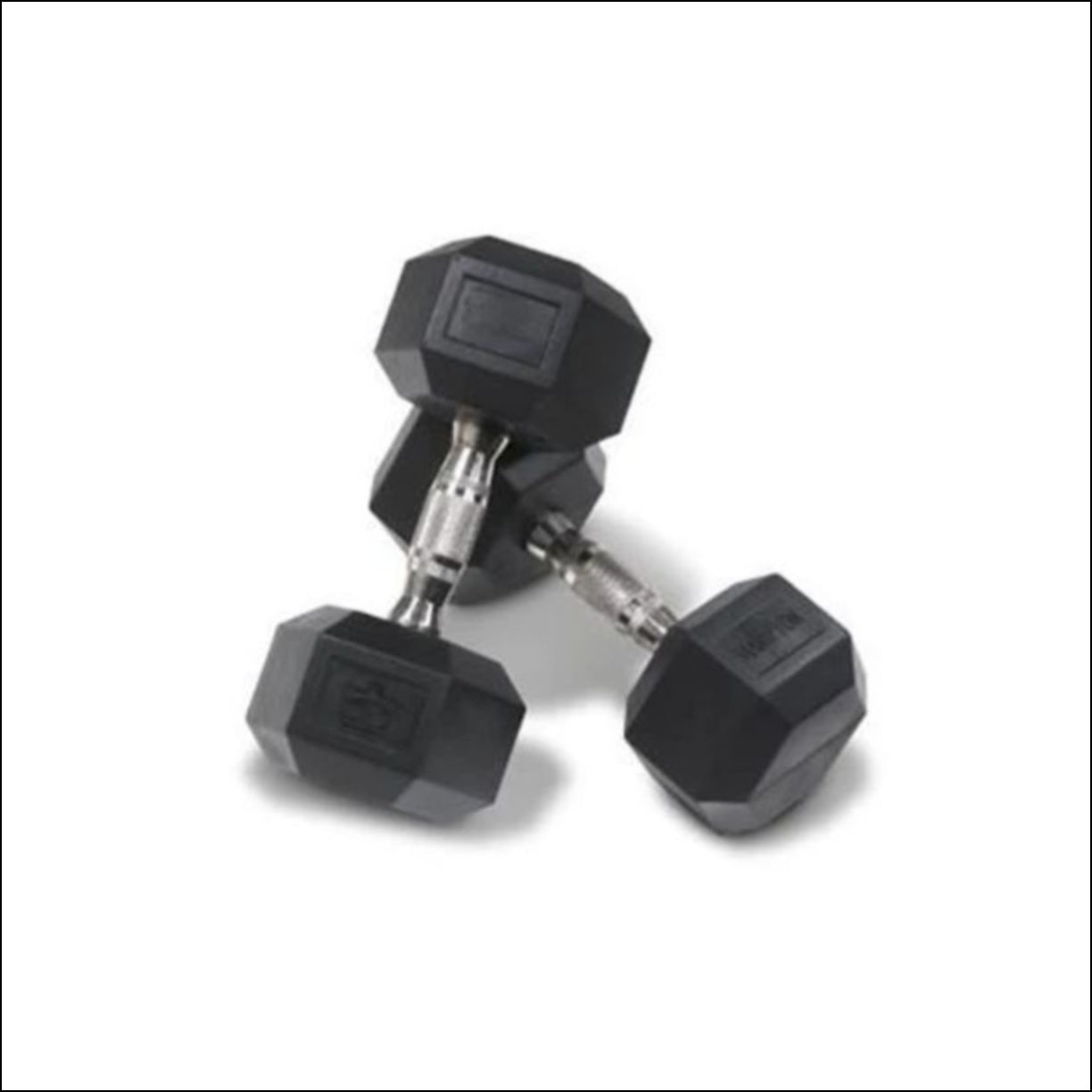 PAIR OF 9-KG RUBBER HEX DUMBBELLS  Muscle Motion Rubber coated hexagonal dumbbells with ergonomic handles are designed for increased comfort and improved durability. Rubber coating reduces noise improves life cycle of the product  (other finishes such as chrome and cast iron are subject to chipping and rust). Rubber coated dumbbells are also kinder on floor surfaces. The hexagonal shaped ends are designed to prevent the dumbbell from rolling on the floor or dumbbell rack.