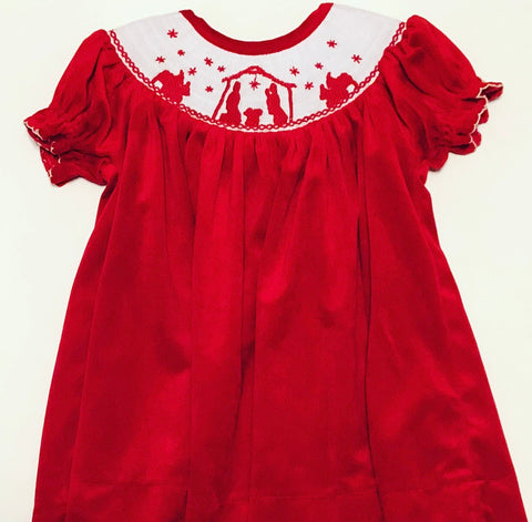 Christmas Nativity Smocked Velvet Dress