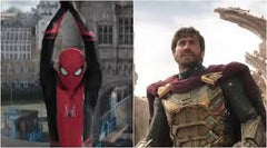 Spiderman far from home, Tom Holland on left swinging through new york, Jake Gyllenhaal on right as Mysterio