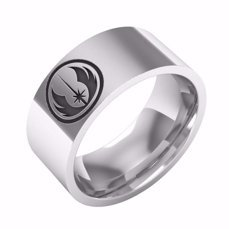 Star Wars Classic Jedi Symbol Engraved Ring Polished Stainless Steel