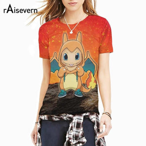 Raisevern 2017 New 3D T Shirt Funny Charmander t-shirt Cartoon Birdy Pokemon Tee Harajuku Summer Style Outfit 3d Tops