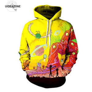UIDEAZONE 2017 New arrive Rick and Morty Alien 3D Printed Hoodies Pullover Hoodie Trippy Planet Artwork Sweatshirt Plus Size 3XL