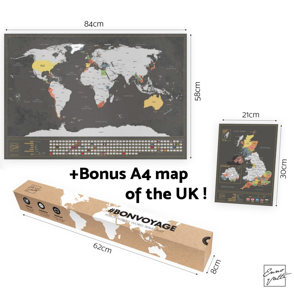 Enno vatti scratch off world map with flags silver ennovatti scratch off world map with bonus a4 uk map silver gumiabroncs Images