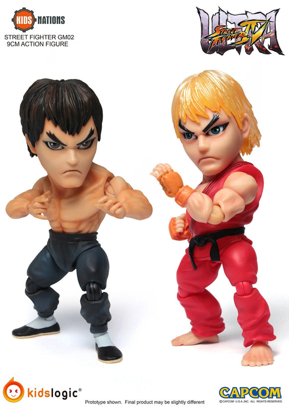 Ken vs Fei Long, Ultra Street Fighter IV Kids Nations GM-02 Action Figure, Set of 2