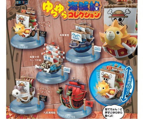 Yurakore Series One Piece Wobbling Pirates Ship Collection, Box of 6