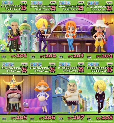 One Piece World Collectible Figure TV Series, Vol 25, Set of 8