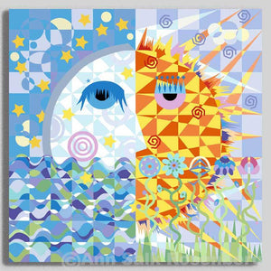 Good Night Moon, Good Morning Sunshine - Museum Quality Print On Canvas