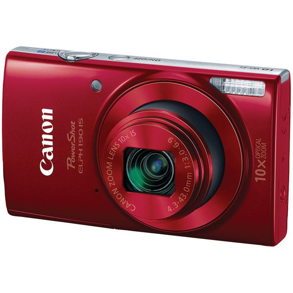 Canon(R) 1087C001 20.0-Megapixel PowerShot(R) ELPH(R) 190 IS Camera (Red)