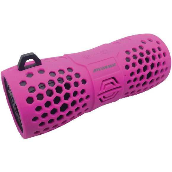 SYLVANIA(R) SP332 -PINK Water-Resistant Portable Bluetooth(R) Speaker (Pink)