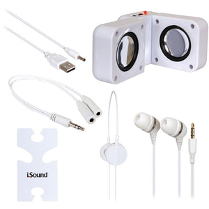dreamGEAR(R) ISOUND-1615 5-in-1 Travel Sound Kit (White)