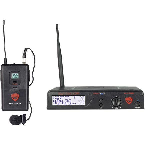 Nady(R) U-1100 LT/O/A UHF 100-Channel Wireless Lavalier Handheld Microphone System