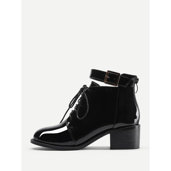 Lace Up Block Heeled Patent Leather Boots
