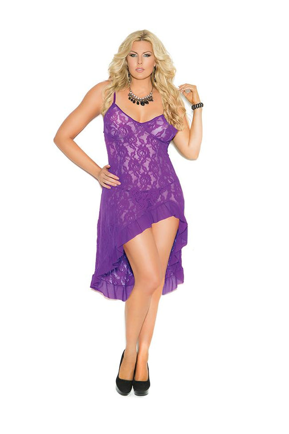 Elegant Moments Women's Stretch Lace Gown and G-String Q/S