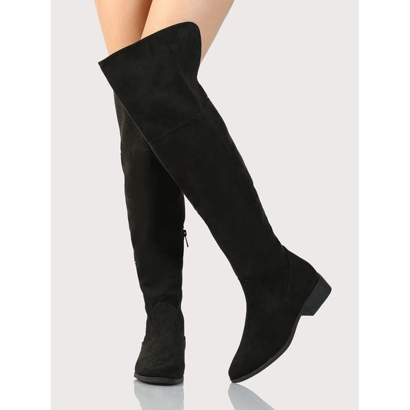 Basic Round Toe OTK Boots BLACK