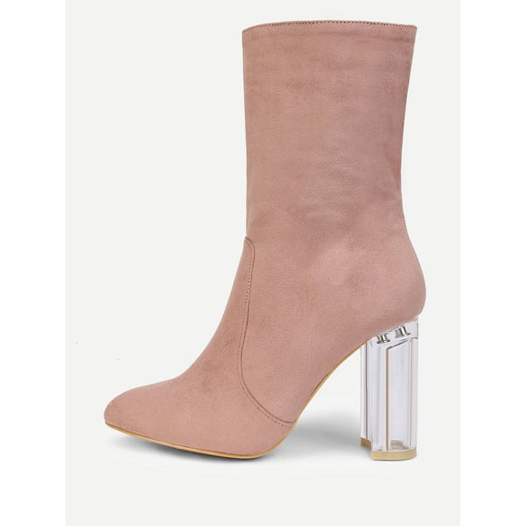 Clear Heeled Pointed Toe Suede Boots