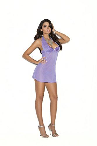 Elegant Moments EM-4170 Demi cup babydoll with underwire cups XL / Lilac