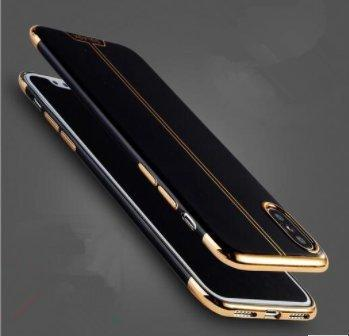 Aluxe - iPhone X case Black and Gold designer / iPhone 10 Electroplated Slim Fit Lightweight Soft TPU Cover- Ultra Durable luxury protective Silicone Snap On