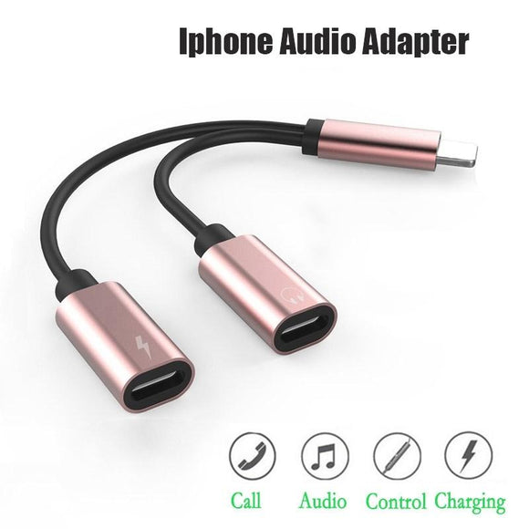Aluminum Alloy Conversion Cable for Simultaneous Charging and Listening to Music for Iphone X 8 8 Plus 7 7 Plus