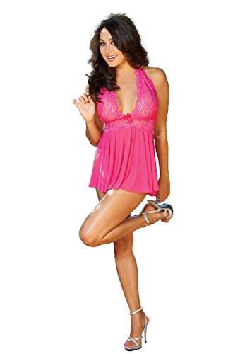Shirley of Hollywood Women's Flattering and Fabulous Haltered Babydoll with G String, Hot Pink, One Size
