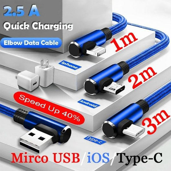 Phone Accessories Micro USB Data Sync Cable Quick Charging Cable 90 Degree Right Angle for Iphone X 8 6s 7 Plus 5s Samsung Xiaom