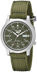 Seiko Men's Seiko 5 Automatic Stainless Steel Watch with Green Canvas