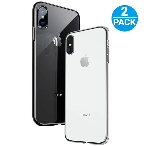 iPhone X Case - Pohopa Slim Rugged Crystal TPU Case [2 Packs, Clear] with Scratch Resistant / Enhanced Hand Grip and Hybrid Drop Protection for Apple iPhone X / 10 Smart Phone 2017 (Crystal Clear)