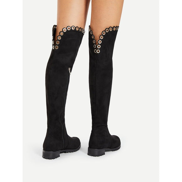Grommet Detail Knee High Boots