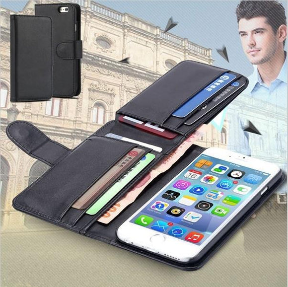 Fold Wallet leather case for iPhone 6 6 Plus 5 5s 5c 4 4s/Samsung Galaxy S5 S6 S6 Edge S8 S8 Plus Note4