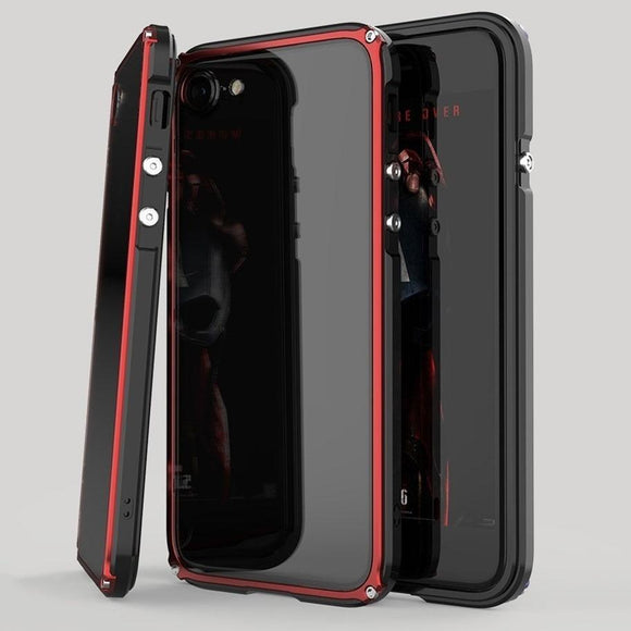 Newest Hot Sell Aluminum Metal Bumper Frame + PC Clear Back Case Cover for iPhone X / 8 / 7 Plus / iPhone 6s / 6S Plus for Samsu