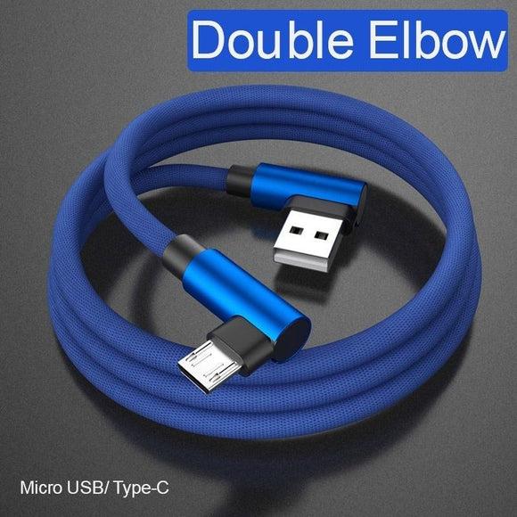 L Bending USB Cable Fast Charging Braided Cable Micro USB Type C For Samsung HTC Huawei Xiaomi
