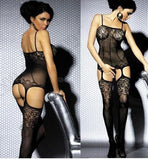 Sexy Women´s Fashion Fishnet Bodystocking Crotchless Hollow-out Lingerie Nightwear Bodysuit Black (Color: Black)