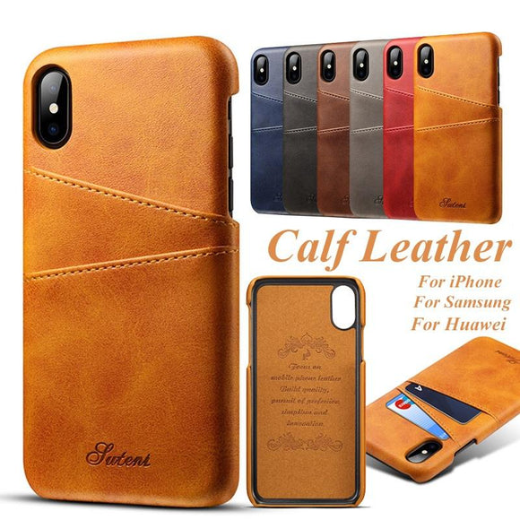 Luxury Handmade Calf Skin Leather Case for Iphone 7 7 Plus/iPhone X/Samsung Galaxy S8 S8 Plus S9 S9 Plus Note 8 Hard Back Cover