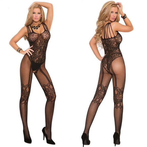 Sexy Lingerie Much-loved Floral Open Crotch Mesh BodyStockings,Black (XS,S,M,L,XL,XXL,XXXL)