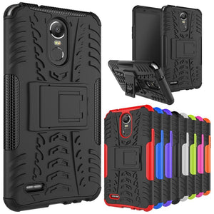 FORLG Stylo 3 / Stylo 3 Plus Case, Shockproof Hybrid Dual Layer Rugged Armor Protective Cover with Kickstand