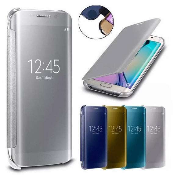 Fashion Mirror Smart View Flip Hard Back Case Cover for Samsung Galaxy S6 S6 Edge S6 Edge Plus 4 5 7/A5 A7 A8/A310 A510 A710