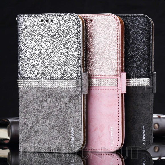 L-FADNUT Brand Luxury Fashion RhineStone Bling Glitter Flip Stand Wallet Case Cover For Apple iPhone X Ten 8 7 6S 5S SE & Samsun