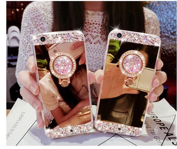 Luxury Charm Crystal Rhinestone Bling Diamond Glitter Mirror Case Ring Stand for Phone5 5S 6 6S 7 Plus 8 Plus X