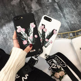 Simple Classic Matte TPU Phone Case, Women's Fashion Embossment V Words Pattern Painted Phone Cover, Popular Soft 3D Relief Rose