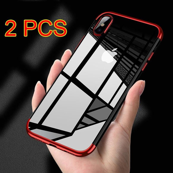Fashion Original Phone Case for IPhone X High-end Transparent Plated Mobile Phone Back Shell for IPhone X TPU Soft Case Shell (S