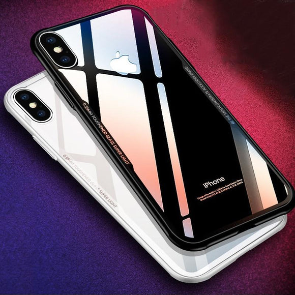 Fashion HD Transparent Tmepered Galss Case For iphone X 8 7 Plus Cover Slim Clear Explosion-proof Toughened Glass Phone Cases