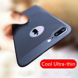 Cool Ultra-thin Breathable Phone Case For iPhone 7 7Plus 6 6S 5S SE Hard Plastic Honeycomb Grid Back Cover For iPhone X 8 8Plus